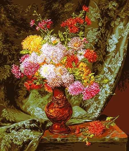 0859 Хризантемы в шаре (Chrysanthemums in japanese bowl)