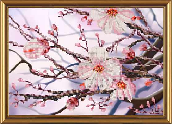 Бис 4241 Яблоневый цвет (рисунок на ткани)