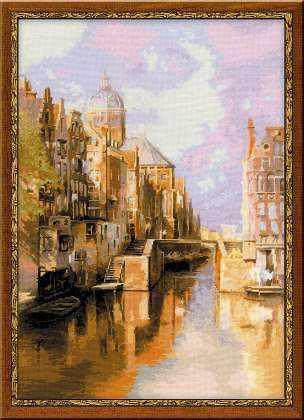 """1190 """"Амстердам. Канал Аудезейтс Форбургвал"""" по мотивам картины И. Клинкенберга"""