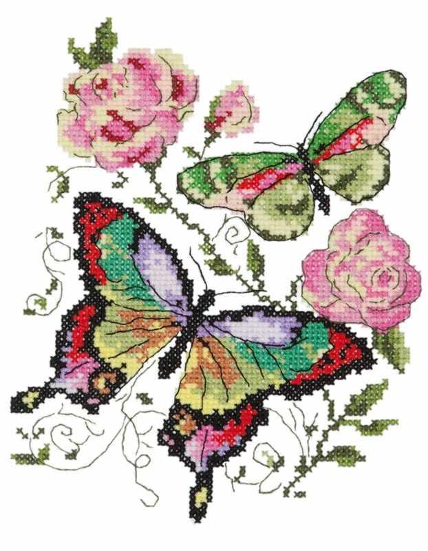 42-04 Бабочки и розы