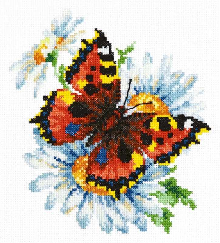 42-11 Бабочка и ромашки