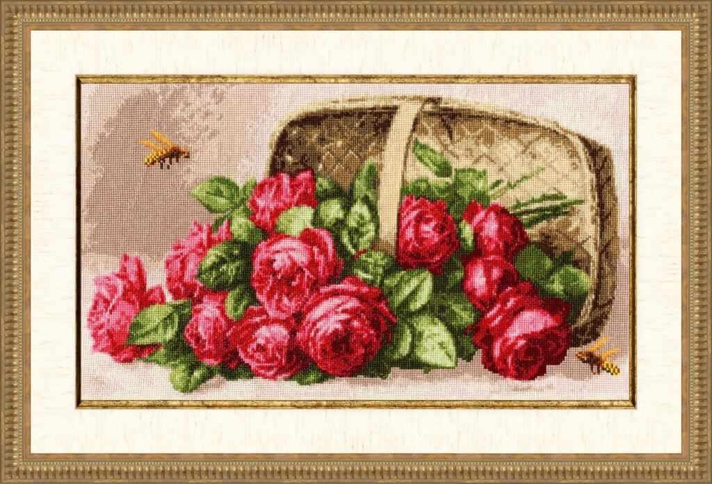 ЛЦ-041 Розы в лукошке. Любимые цветы