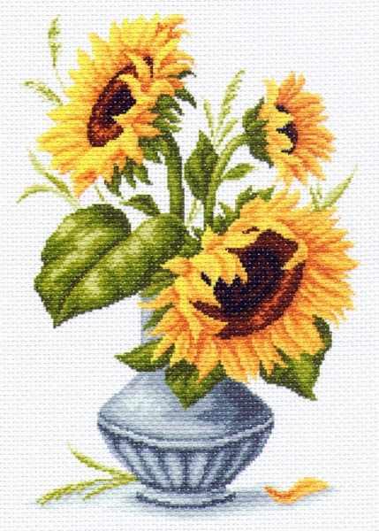 1239 Подсолнухи в вазе - рисунок на канве (МП)
