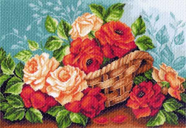 1241 Розы в корзине - рисунок на канве (МП)