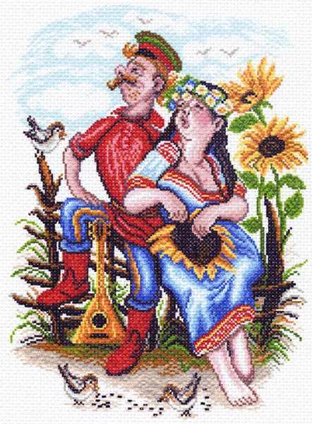 1551 Двое на околице рисунок на канве (МП)