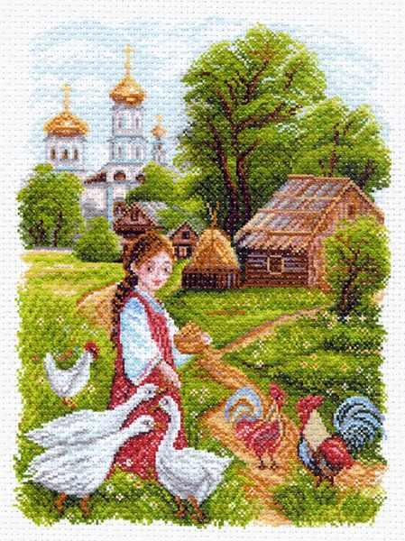 1552 На птичьем дворе рисунок на канве (МП)