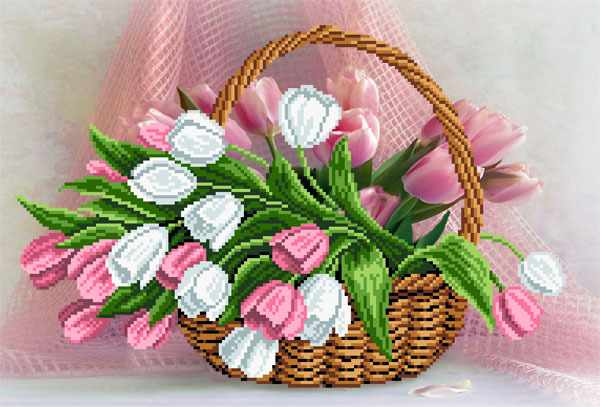 4099 Тюльпаны в корзине - схема для вышивания (Матрёнин посад)