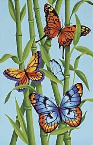 "91258 DMS ""Бабочки и бамбук"" - раскраска"