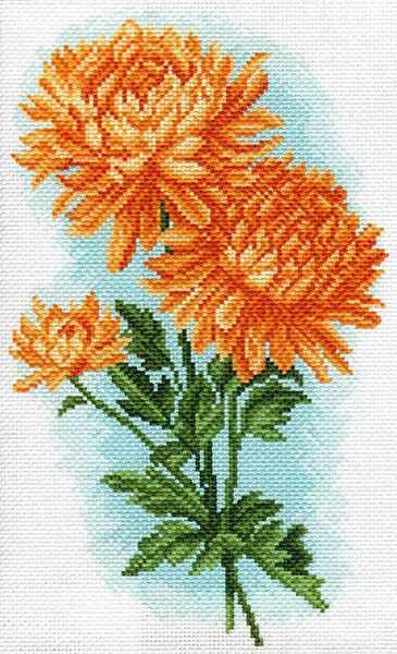 1586 Желтые хризантемы рисунок на канве (МП)