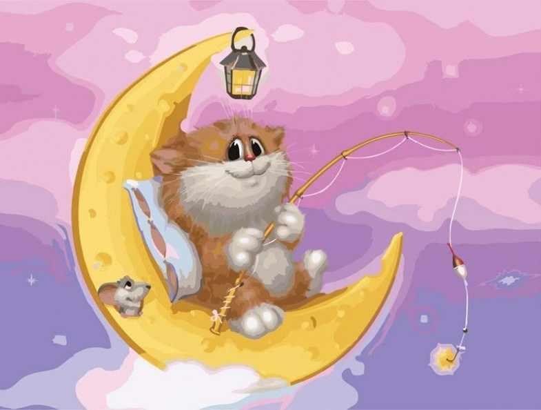 746-AS Котик на Луне - раскраска (Белоснежка)