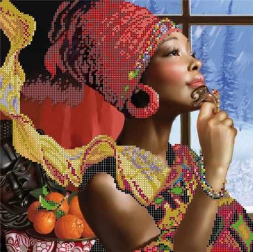 """S-127 """"Африканские мотивы"""" - рисунок на ткани"""
