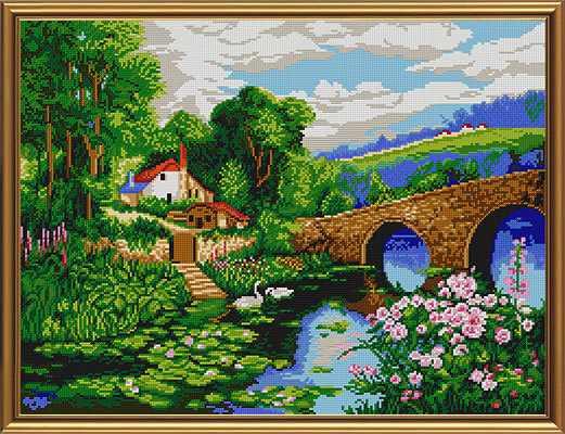 Бис 0034 Деревенский пейзаж (рисунок на ткани)