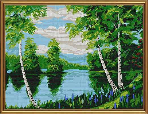 Бис 0035 Березы над рекой (рисунок на ткани)