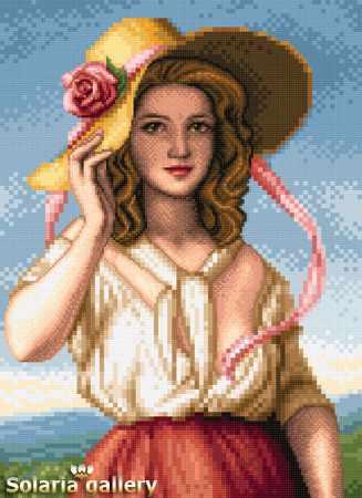 8113-21 Девушка с розой - бумажная схема