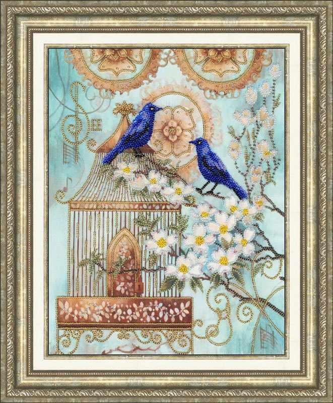 РТ-027 Синие птицы счастья. Рисунок на ткани