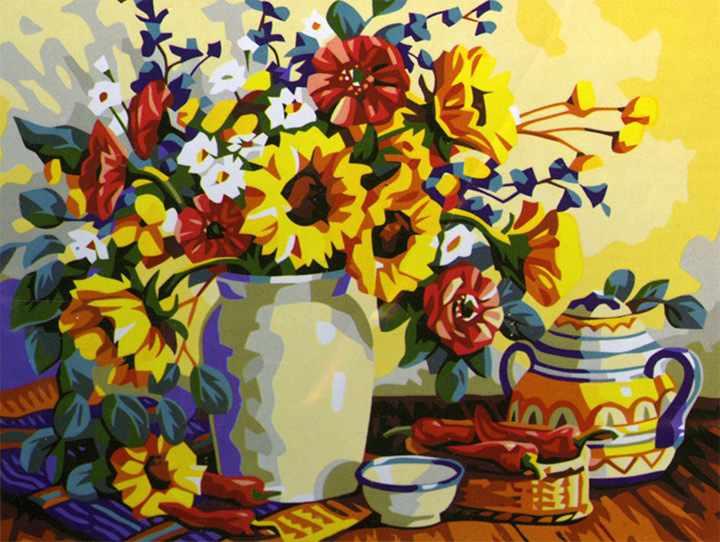 MG196 Чай с цветами - раскраска (Menglei)