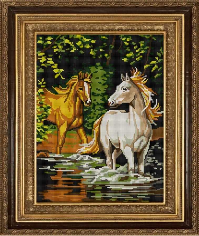 НИК 9705 Пара лошадей - схема для вышивания (Конёк)