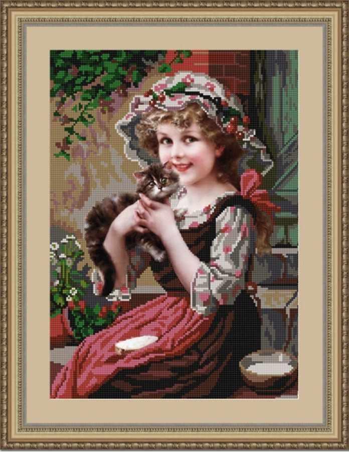 НИК 9727 Девочка с котенком - схема для вышивания (Конёк)
