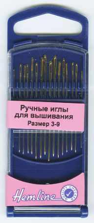 280G39 Иглы для вышивания с острым кончиком в пластиковом контейнере №3-9, 16шт