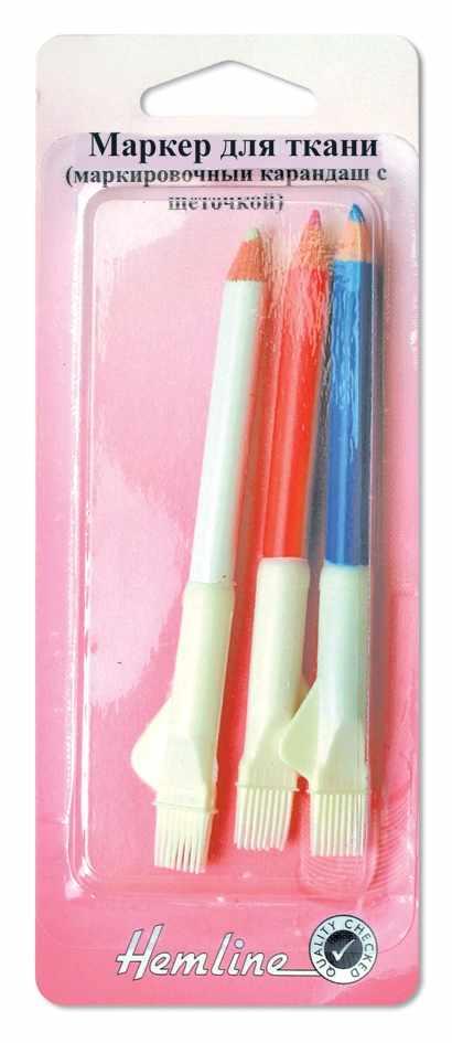 294C Карандаш д/ткани, смываемый водой 3 шт (Белый, розовый, голубой)