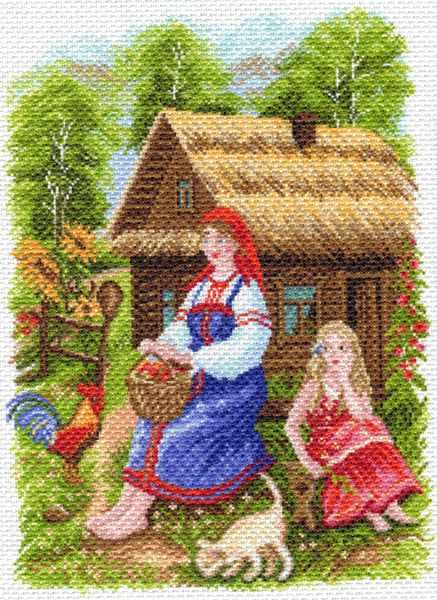 1554 Деревенский пейзаж - рисунок на канве (МП)