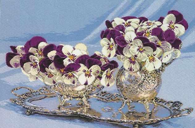 0974 Pansies in a silver vase