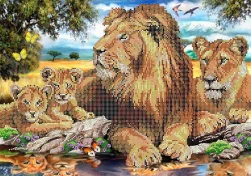 """S-152 """"Львиная семья"""" - рисунок на ткани"""
