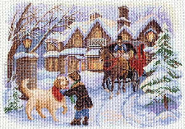 1570 Рождественские каникулы рисунок на канве (МП)