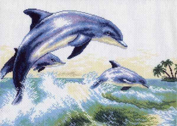 456 Дельфин - рисунок на канве (МП)