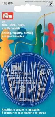 128610 Иглы набор для шитья, вышивки, штопки и бисероплетения в распределительном пенале PRYM
