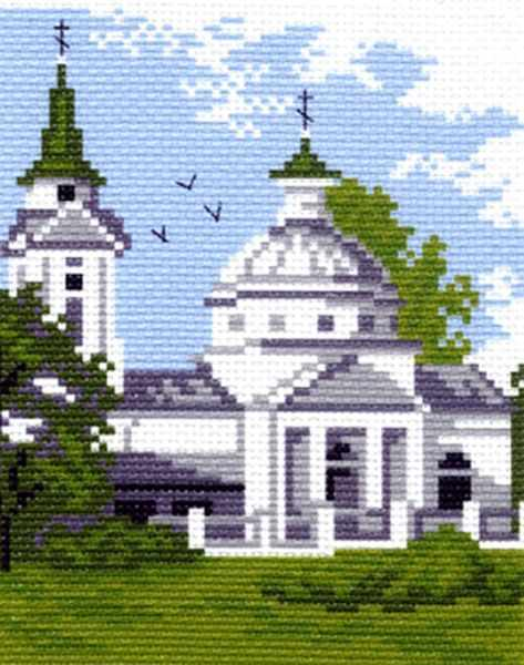 481 Церковь - рисунок на канве (МП)