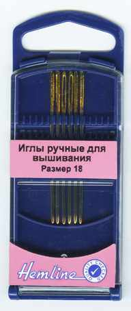 283G.18 Иглы для вышивания с закруглённым кончиком в пластиковом контейнере №18, 6шт
