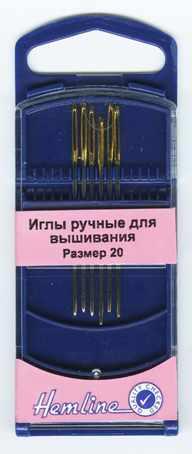 283G.20 Иглы для вышивания с закруглённым кончиком в пластиковом контейнере №20, 6шт