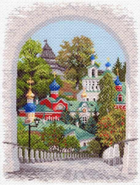 1644 Псково-Печерская лавра - рисунок на канве (МП)
