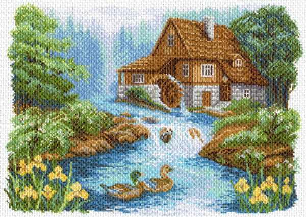 1647 У мельницы - рисунок на канве (МП)