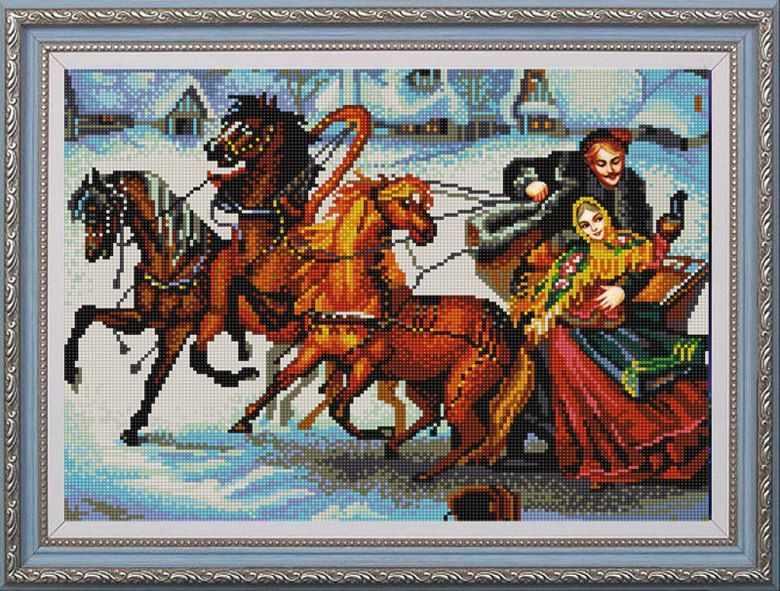 НИК 9767 Тройка лошадей - схема для вышивания (Конёк)