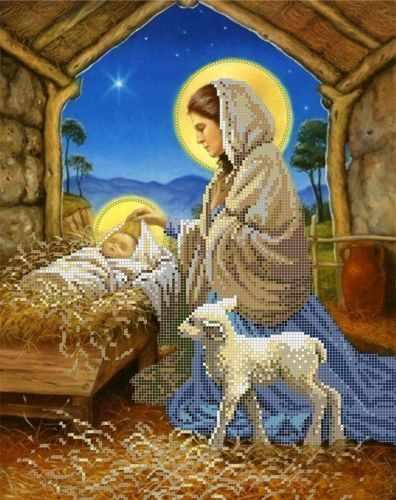 """S-170 """"Рождение Иисуса"""" - рисунок на ткани"""