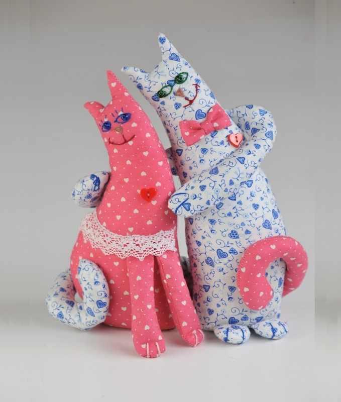 ПЛ 402 Влюбленные коты - игрушка (Перловка)