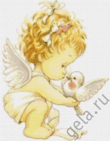 B0369 Ангелочек с голубями