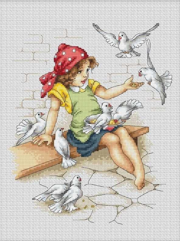 B1051 Девочка с голубями