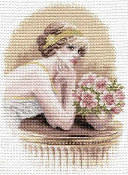 1651 Девушка ретро - рисунок на канве (МП)