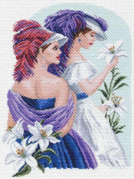 1652 Девушка с лилиями - рисунок на канве (МП)