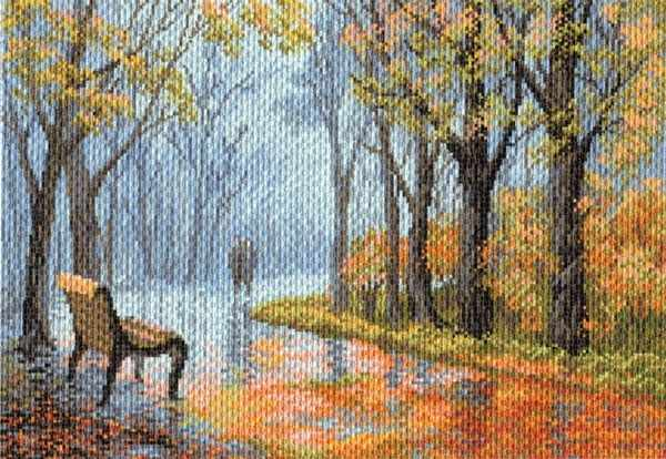 1654 В парке - рисунок на канве (МП)