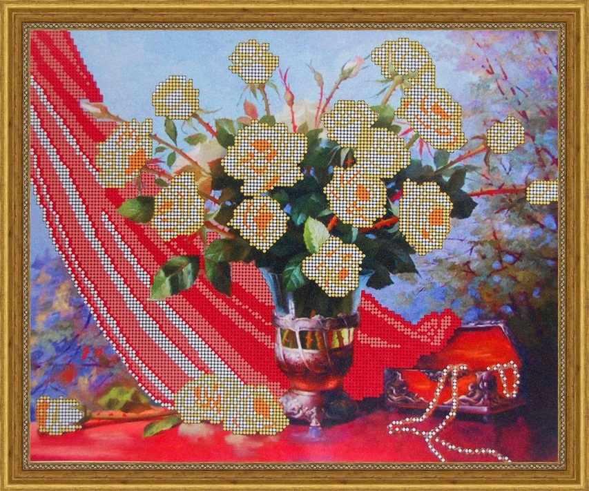 Б-3028 - Белые розы - схема для вышивания (Алёшкина любовь)