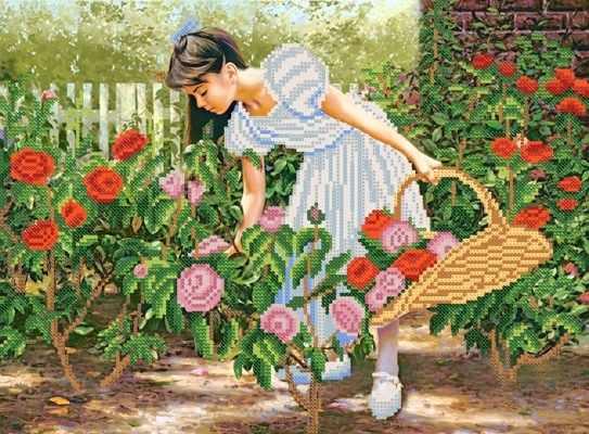 РКП-340 Розы алые в саду - схема для вышивания (Марiчка)