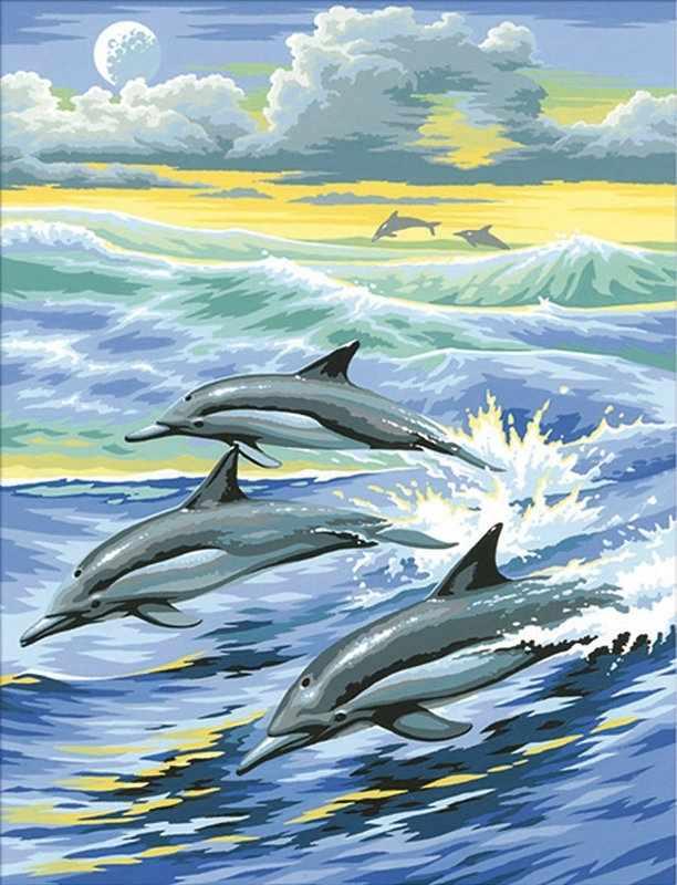Алмазная вышивка Семья дельфинов (АЖ-1062) - картина стразами