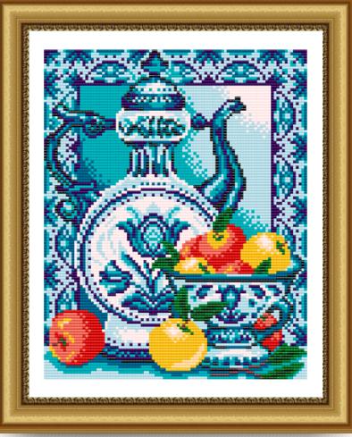 VKA4029 Гжель. Яблоки - схема для вышивания (Art Solo)