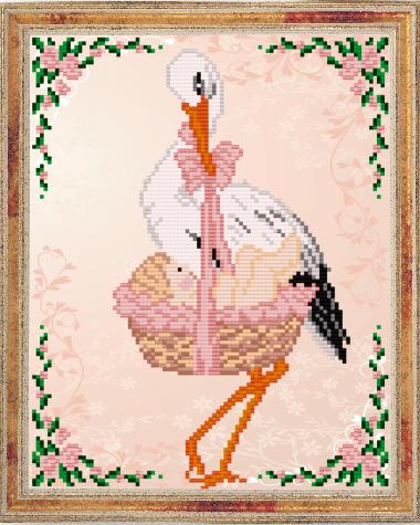 VKA4038 С рождением девочки - схема для вышивания (Art Solo)