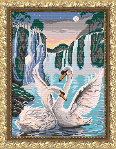 VKA3044 Лебеди у водопада - схема для вышивания (Art Solo)