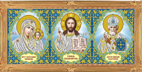 VIA3007 Триптих. Господь Вседержитель, Св. Николай, Богоро - схема для вышивания (Art Solo)